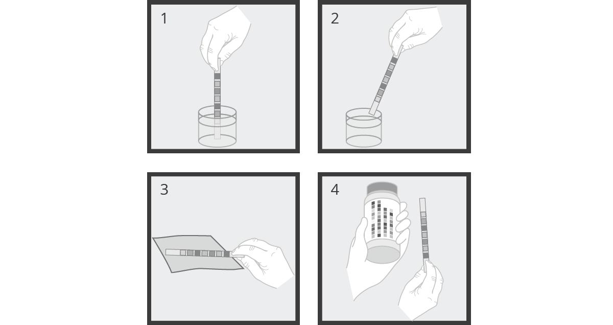 Modo de empleo de la tira de adulterantes en orina UrineCheck 7