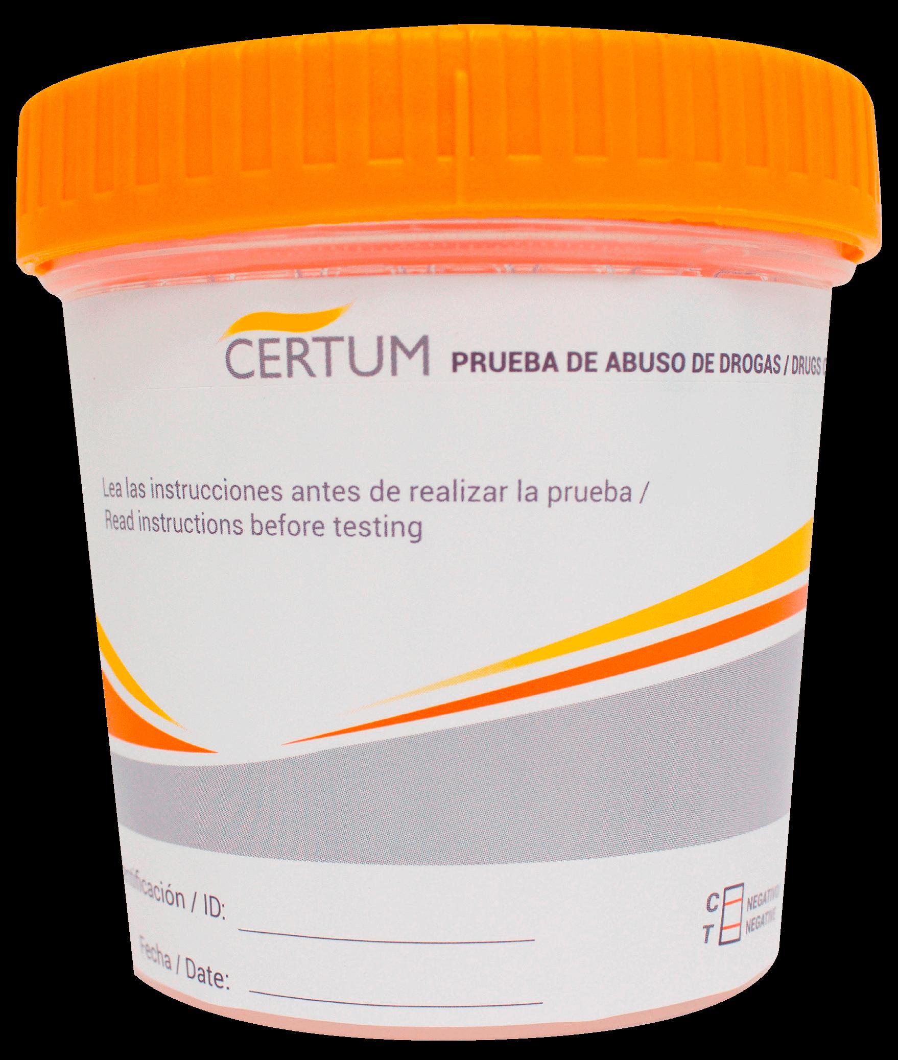 Frasco Simple Cup Certum para la detección de drogas